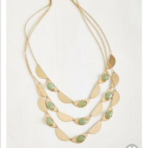 Gold and Green Jade Layered Necklace